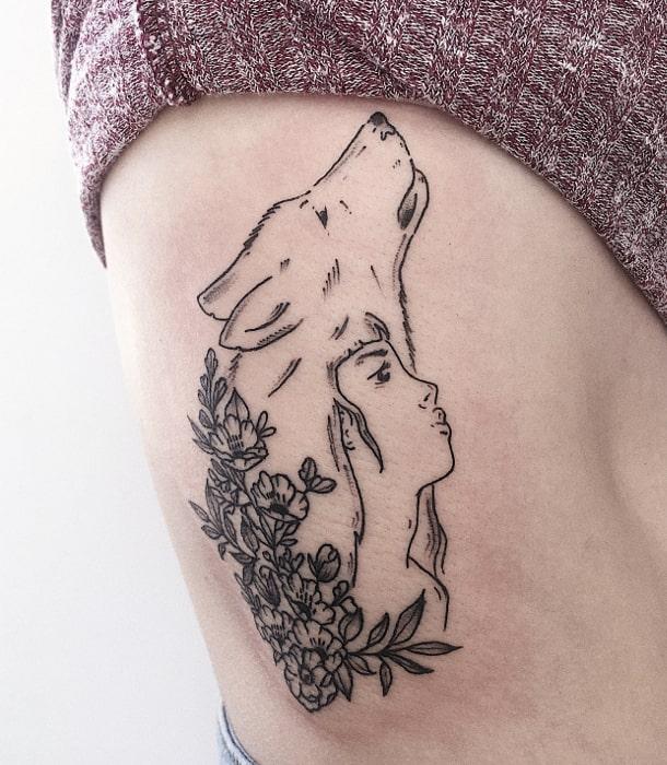 Chica lobo flores