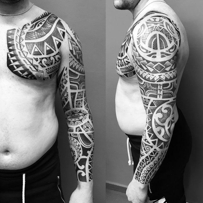 Maorí brazo pecho frontal lateral